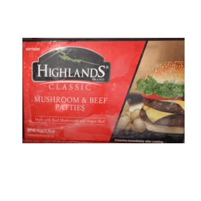 Highlands Classic Mushroom & Beef Patties 452g Feta