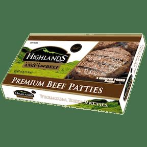 Highlands GOLD Beef Patties Angus Beef 452g (15.94oz) feta